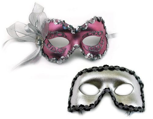 Angelina-Fernando Pink Masquerade Masks for a Couple