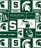College Michigan State University Spartans Dark Green Print Fleece Fabric By the Yard
