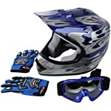 Tengchang Dot Approved Youth Blue Flame Dirt Bike ATV MX Motocross Helmet with Goggles and Gloves (S)