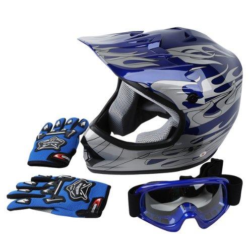 TCMT Dot Youth & Kids Motocross Offroad Street Helmet Blue Flame Motorcycle Helmet Silver Dirt Bike Helmet+Goggles+gloves L
