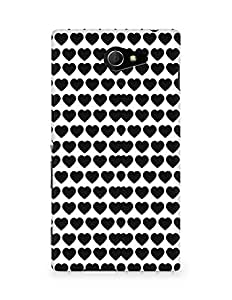 Amez designer printed 3d premium high quality back case cover for Sony Xperia M2 D2302 (Cool Black Hearts Pattern)