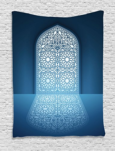 Ambesonne Arabian Decor Collection, Doors of Antique Old Mosque Grace Faith Theme Islamic Eid Ethnic Illustration Print, Bedroom Living Room Dorm Wall Hanging Tapestry, White (Arabian Party Decorations)