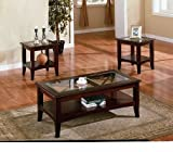3pc Contemporary Cappuccino Coffee & End Table Set w/Glass Insert