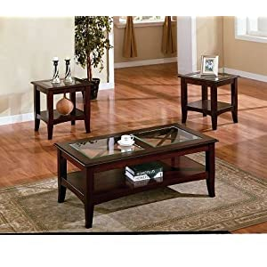 Cheap Coffee Table Sets 3pc Contemporary Cappuccino Coffee End Table Set W Glass Insert