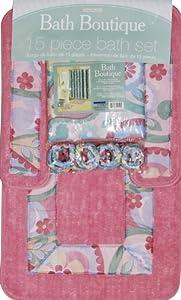 Home Dynamix 343-278 Bath Boutique Poly-Acrylic 15-Piece Bathroom Set, Pink/Multi-Colored