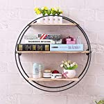 KingSo Rustic Wood Wall Floating Shelves,Decorative Wall Shelf for Bedroom, Living Room, Bathroom, Kitchen, Office and More (Round)
