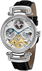 Stuhrling Original Men's 353A.33152 Magistrate Automatic Self Wind Skeleton Dual Time Black Leather Strap Watch