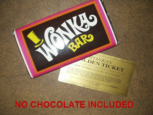 7 oz sized Willy Wonka Chocolate Bar wrapper with Golden Ticket replica-no chocolate included (Willy Wonka Bar compare prices)