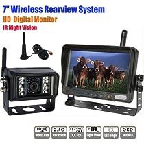 "7/"" Car Rear View Monitor+4PC Wireless Backup Camera F RV Truck Bus Heavy Vehicle"