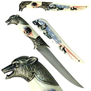 The All American Howling Snow Wolf White Camping Bowie Chrome Hunting Knife