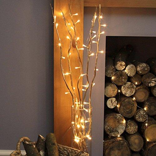 Blumenstrauß beleuchtet 5 Zweige Weide weiß/braun/gold, 90cm, 50 LED warmweiß (Gold)