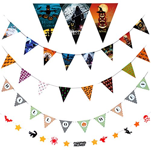 [Halloween Party Hanging Decorations String Curtain Banner Pennant Flag Pumpkin Skull Spider (Style] (Ups Package Costume)
