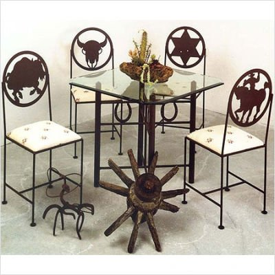 Buy Low Price Grace Collection 36″ Square Horse/Cross Dining Table Metal Finish: Antique Bronze (T1029-4/GL36SBC)