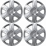 """OxGord Hubcaps for Toyota Corolla 2005-2008 Set of 4 Pack 15"""" Inch Silver Auto Wheel Covers, OEM Genuine Factory Aftermarket Replacement, ABS Plastic - Easy Snap On - Includes 5 Lug Nut Center Caps"""