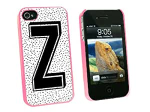Graphics and More Letter Z Initial Sprinkles Black White Snap-On Hard Protective Case for Apple iPhone 4/4S - Non-Retail Packaging - Pink