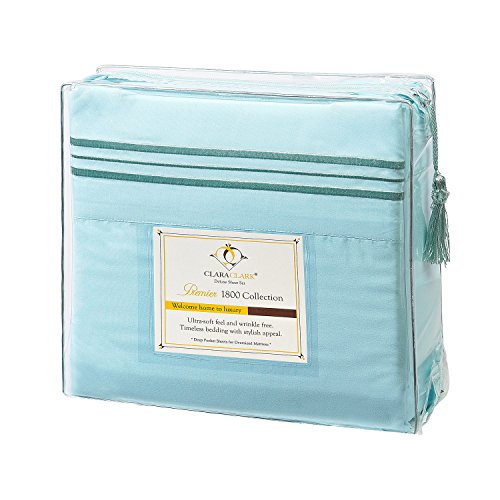 Clara Clark Premier 1800 Collection 4pc Bed Sheet Set - Full (Double) Size, Light Blue Aqua, (Blue Bed Sheets Full compare prices)