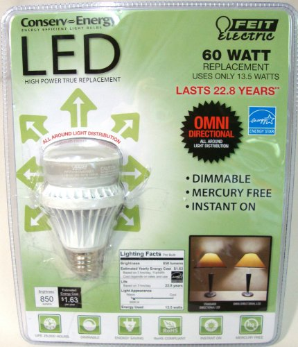 *Lot Of 10* Feit Electric A19 60 Watt Replacement Uses 13.5 Watts