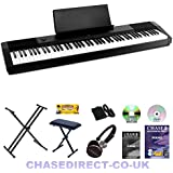 Casio CDP-120 Digital Piano Deluxe Bundle By Chase With Foldable Stand