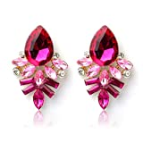 Bestpriceam (TM) Fashion Lady Rhinestone Crystal Drop Alloy Ear Studs Earrings (Hot Pink)