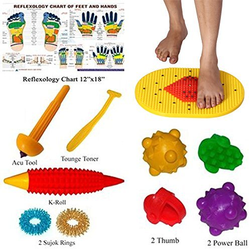 Bumper Acupressure Mat with Magnets Pyramids for Pain Relief & Total Health Care 14x10 Inches FREE SuJok Rings, Acupressure K-Roll, Power Ball, Power Thumb & Reflexology Chart for Hand & Feet