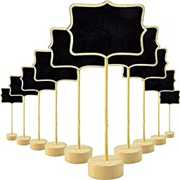 Fonder Mols Mini Rectangular Chalkboard Blackboard Stand Wedding Lolly Party Table Numbers Place Card Favor (Pack of 12)