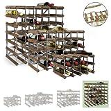 Cantinetta / scaffale per vino / sistema TREND per 42 bottiglie, legno scuro rovere, ampiliabile - a 61,2 x l 61,2 x p 30 cm
