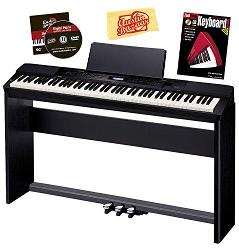 Casio Privia Px-350 88-Key Digital Piano Bundle With Casio Cs-67 Furniture-Style Stand, Casio Sp-33 3-Pedal System, Hal Leonard Instructional Book, And Austin Bazaar Polishing Cloth - Black