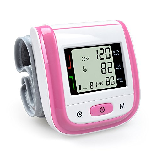 Elera Automatic Wrist Digital Blood Pressure Monitor Heart Beat Meter w/ Digtital LED Display (pink) (Digital Blood Pressure Cuff compare prices)