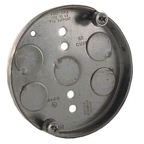 Hubbell Raco 295 1/2-Inch Deep 1/2-Inch Bottom Knockouts 4-Inch Round Ceiling Fan Support Pan