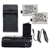 Neewer Professional Battery Grip BG-E5 Replacement for Canon EOS 450D 500D 1000D + 2x Replcement 7.4V 1500mAh LP-E5 Battery + Home(AC)/Car Charger