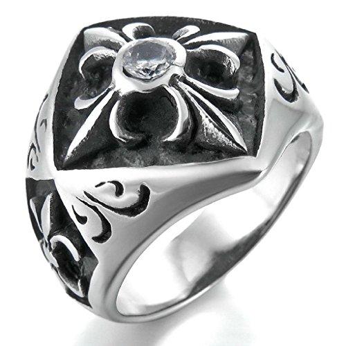 Epinki,Fashion Jewelry Men's Stainless Steel Rings CZ Silver Black Celtic Medieval Cross Knight Fleur De Lis Shield Vintage Size 11