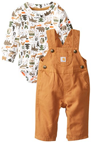 Carhartt Baby-Boys Canvas Bib Overall Set, Carhartt Brown, 3 Months front-869094
