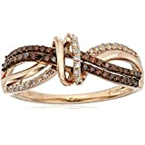 10k Rose Gold White and Cognac Diamond Ring, Size 7