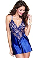 Dreamgirl Women's Sexy Alluring Satin Charmeuse Chemise and Matching Thong