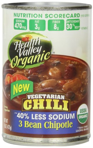 Health Valley Organic No Salt Added Chili, 3 Bean Chipotle, 15 Ounce (Pack of 12) (Organic Green Chili Sauce compare prices)
