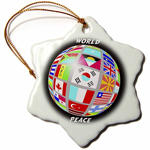 3dRose orn_38913_1 World Peace Globe with All Country's Flags Snowflake Decorative Hanging Ornament, Porcelain, 3-Inch