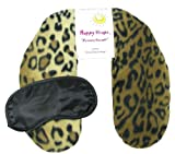Happy Wraps® Herbal Neck Wrap w/Free Sleep Mask – Microwave or Freeze – Leopard Fleece