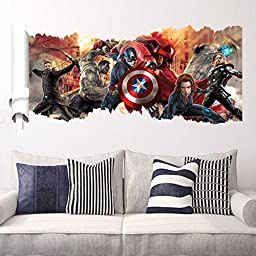 Removable 3D View The Avengers Captain America Art Mural Vinyl Waterproof Wall Stickers Kids Room Nursery Decor Decal Sticker,