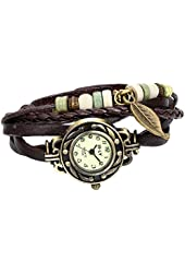 JewelryWe Women Quartz Fashion Weave Wrap around Leather Bracelet Wrist Watch