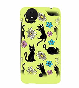 PrintVisa Cute Cartoon Cats 3D Hard Polycarbonate Designer Back Case Cover for Micromax Canvas Android A1