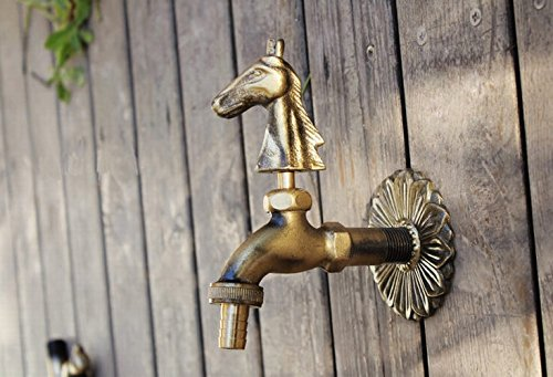 Aquafaucet Horse Decorative Antique Brass Garden Outdoor Faucet - With a Set of Brass Quick Connecter for 1/2