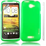 Gel Case Cover Shell And Screen Protector For HTC One X Plus / Green Design