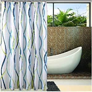 Eforgift Striped Pattern Waterproof Fabric Shower Curtain for Bathroom, No More Mildew Shower Curtain with Free Hooks,72-Inch by 72-Inch,Beach Theme (AD-F1)