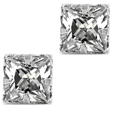 iJewelry2 Clear Diamond CZ Square Princess Cut Magnetic Men Stud Sterling Silver Earrings 5mm