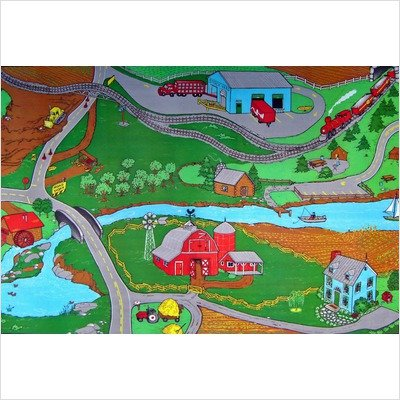 Children's Play Farm Kids Rectangular Rug