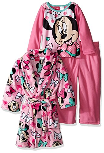 Disney Toddler Girls' Minnie Mouse 2-Piece Pajama Set with Robe, Pink, 5T