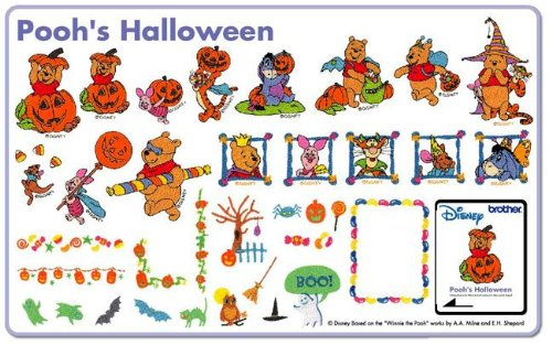 Winnie the Pooh Halloween Brother Disney Embroidery Memory Card SA322D (Brothers Embroidery Disney compare prices)