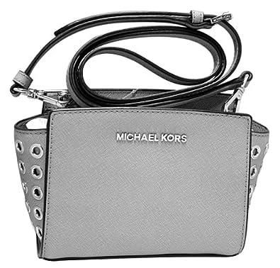 Michael Kors Selma Gromet Mini Messenger Crossbody Leather Pearl Grey