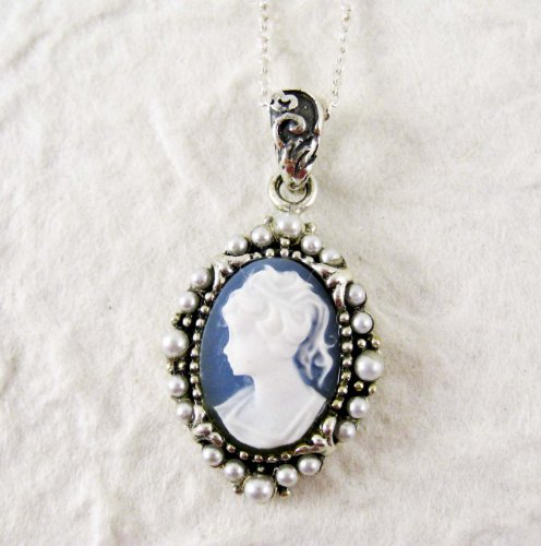 Pearl Radiance and Blue Cameo Necklace