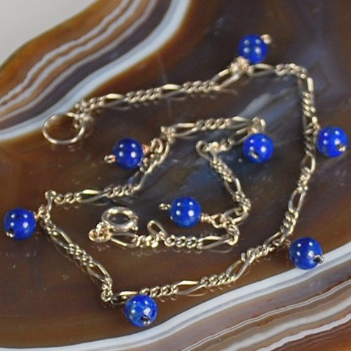 Simple w Natural Blue Lapis Beads ~Sterling Silver ANKLET~~ N2_0711_21